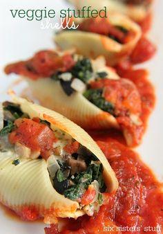 Veggie Stuffed Shells make eating healthy easy from Six Sisters' Stuff!