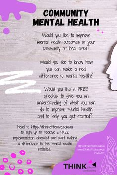 Would you like to improve mental health outcomes in your community or local area? I have created and chaired a community mental health action team that has been used as a model for success for other communities. Using this experience I have created a FREE implementation checklist that you can access to give you a clear list of what can be done and where to start when improving mental health outcomes in your community or local area. Click here to access the FREE checklist Mental Health And Wellbeing, Improve Mental Health, What You Can Do, How To Find Out, Positive Behavior, Action, Success, Positivity, Community