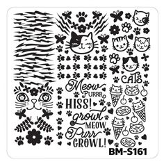 Nail Art Stamping Plates - Fuzzy and Ferocious: BM-S161, Cat Person