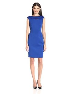 bc9a6d75a8a Calvin Klein Womens Cap Sleeve Sheath Dress with Front Cut Out Regatta 10      Read more at the image link.