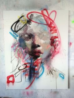Ryan Hewett-combined graffiti-like art with paint - PaintinG Abstract Portrait Painting, Portrait Art, Acrylic Face Painting, Painting Clouds, Portrait Ideas, Inspiration Art, Art Inspo, Portrait Inspiration, Contemporary Abstract Art
