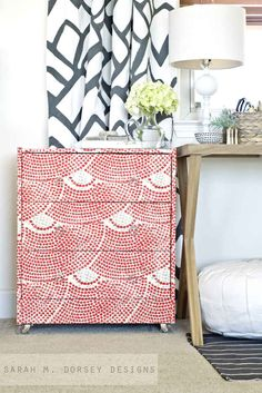Use fabric or paint for a faux-mosaic look | 99 Clever Ways To Transform A Boring Dresser