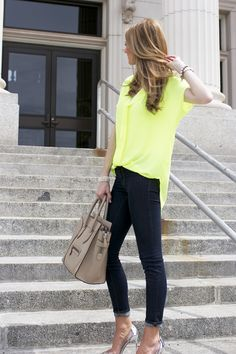 Pair a slim fit like the J BRAND 620 Mid-Rise Super Skinny with neon for a fresh take on date night.