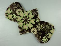 "Yurtcraft Cloth Menstrual Pad - 10.5"" Bamboo, Hemp and Organic Cotton Core - Ultra Absorbency - Minky - Chocolate Mint Floral-Etsy"