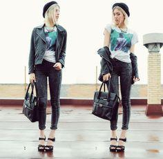 Newfrog Black Bowler Hat, Forever 21 Faux Leather Jacket, Zara Any Way T Shirt, H&M Denim High Waist Jeans, Lefties Black Bag, Zara Heel Sandals