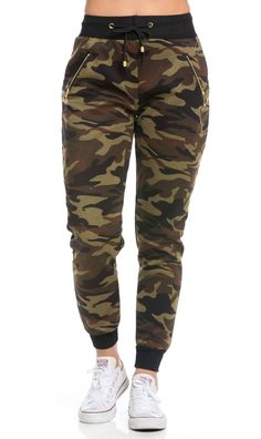 Zipper Detail Drawstring Camouflage Jogger Pants, Work from home outfit, Jogger Pants Outfit, Joggers, Teen Fashion Outfits, Outfits For Teens, Cute Comfy Outfits, Casual Outfits, Dance Outfits, Sport Outfits, Jugend Mode Outfits