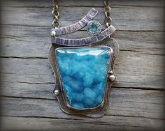 RESERVED (balance) - Botryoidal hemimorphite druzy necklace. Sterling silver natural blue drusy necklace. Rustic bright blue druzy pendant.