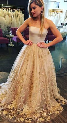 Strapless Sweep Train A Line Long Prom Dress With Floral Appliques OKA95  #champagne #appliques #strapless #prom #