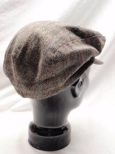 Mens Herringbone Tweed Brown Wool Large Hat Newsboy Cabbie Driver Cap a5e5f939d8f8