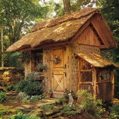 Garden shed?A place to dream? Just a cute tiny house! Would love this as a garden shed esp. with dutch door Gazebos, Potting Sheds, Potting Benches, Thatched Roof, Thatched House, She Sheds, Cabins And Cottages, Log Cabins, Rustic Gardens