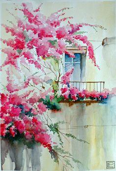 """COPYRIGHT, 2009"""" la finestra sui fiori """" acquerello di Lorenza Pasquali, 35x51 www.lorenzapasquali.it"""