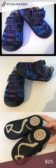 Pediped Brice Navy Toddler shoes sandals Pediped Brice Navy Toddler sandals. Size 5. Hardly worn - in excellent condition! Navy, red, and blue. Box included if you want. Must let me know.  Selling on Amazon for $44-$47. pediped Shoes Sandals & Flip Flops