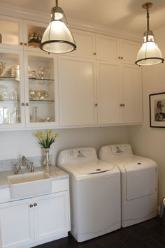 Like the lights, cabinets, sink, feel of room -- laundry/mud rooms - Restoration Hardware Keynes Prism Single Pendant white washer dryer white shaker cabinets marble countertop mini farmhouse sink slate tiles floor