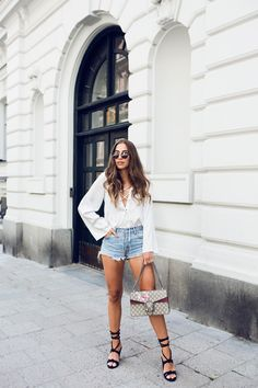 top Peaches from Ivyrevel // shorts from Levi's // shoes from Henry Kole // Gucci bag