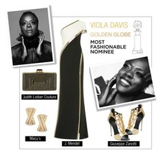 """Viola Davis #goldenGlobes outfit"" by sara-86 ❤ liked on Polyvore featuring J. Mendel, Giuseppe Zanotti, Judith Leiber and Wrapped In Love"