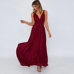 Women Long Dress Fashion Elegant Summer V-Neck Sleeveless Backless Loose Beach Dresses Party Outfits Club Party Dresses, Sexy Party Dress, Party Dresses For Women, Party Outfits, Sexy Dresses, Casual Dresses, Beach Dresses, Long Dress Fashion, Burgundy Maxi Dress
