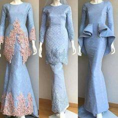 powdered blue wedding dress from Amnibridetobe. Muslimah Wedding Dress, Muslim Wedding Dresses, Pakistani Dresses Casual, Muslim Dress, Blue Wedding Dresses, Kebaya Modern Dress, Kebaya Dress, Malay Wedding Dress, Luxury Wedding Dress