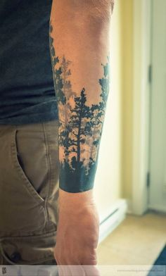 Tree tattoo forest by remiismeltingdots on deviantart - body tattoo design Cool Forearm Tattoos, Body Art Tattoos, Sleeve Tattoos, Tatoos, Tree Sleeve Tattoo, Body Tattoo Design, Tattoo Designs Men, Trendy Tattoos, Tattoos For Guys