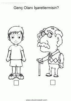Yaşlı Genç Kavramı Ellentétek Preschool Activities Worksheets