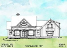 Conceptual Design 1597 is an elegant modern farmhouse with arched windows and shutters. Inside, the floor plan is open and has a split-bedroom layout. #wedesigndreams #modernfarmhouse House Plans One Story, One Story Homes, Ranch House Plans, Country House Plans, New House Plans, Dream House Plans, Cottage House Plans, Story House, Cottage Homes