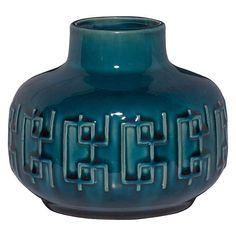 John Lewis Scandi Pattern Squat Vase, Blue at John Lewis