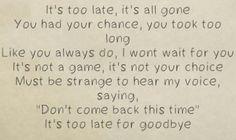 Lyrics, Randy Rogers Band, Too Late for Goodbye