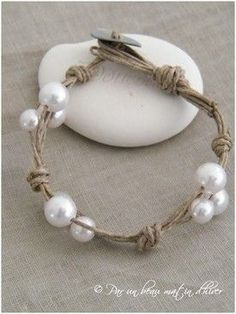DIY Twine & Pearl Bracelet.  This Can Be Made Longer As A Coordinating Necklace.  Silk Cord Ribbon Would Be A More Formal Alternative