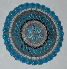 Arte de pared de mosaico mixta placa-turquesa por LowBridgeArtworks