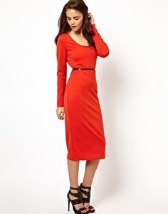Can you believe this gorgeous color? Wear this dress summer into fall, for only $30 and pocket change. With this longer skirt make sure you wear with a heel or boot, unless you are blessed to be tall. Asos.com.