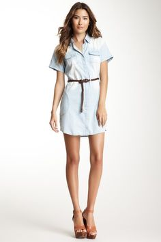 Love Stitch Short Sleeve Belted Chambray Dress by Blowout on @HauteLook