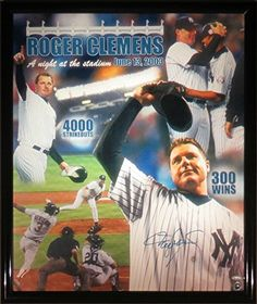 Roger Clemens Signed Framed 300 Win/4000 Strikeout 20x24 Giclee Canvas TRISTAR * Want to know more, click on the image.