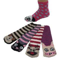 Super Soft Fuzzy Stripe Socks, With Animal Design, 12 Pair, Size 9-11 Casual Socks. $29.99