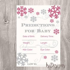 Winter Baby Shower Baby Prediction Card  Printable by IsiDesigns