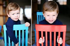 Blue Eyed Boy toddler boy pose with chair | Cat Mayer