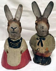 Antique German Candy Containers Paper Mache Cardboard. Mr. & Mrs. Rabbit Bunny.