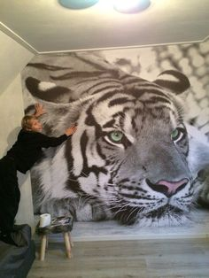 tienerkamer witte tijger foto behang zolder Interior Design Living Room, Living Room Decor, Design Bedroom, 3d Foto, 3d Flooring, Luxury House Plans, 3d Wall Art, Wall Mounted Tv, Sustainable Design
