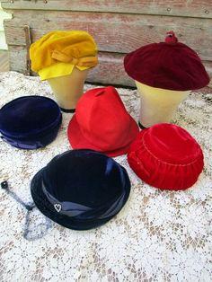 Vintage Lot of 6 Womens Ladies Hats velvet Red purple Leather rhinestones by Holliezhobbiez on Etsy