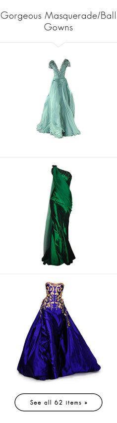 """""""Gorgeous Masquerade/Ball Gowns"""" by just-an-average-fangirl ❤ liked on Polyvore featuring dresses, gowns, long dresses, vestidos, green, green ball gown, long green dress, green dress, green color dress and satinee"""