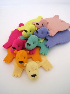Deluxe Rainbow Set of Bear Rug Coaster Set of Seven by dandyrions