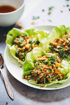 Peanut Chicken Lettuce Wraps with Garlic Ginger Sauce