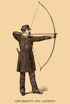 smithsonianlibraries: American etiquette and rules of politeness dictates proper etiquette for assault with bow and arrow (? Arrow Symbol, Marcus Black, Silhouette Tattoos, Romantic Gif, Misfit Toys, Old Ads, Botanical Illustration, Etiquette, Archery
