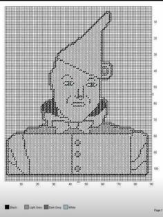 Wizard of Oz Tin Man Free More Detailed Plastic Canvas Pattern Set Filet Crochet Charts, Afghan Crochet Patterns, Cross Stitch Patterns, Blanket Patterns, Plastic Canvas Crafts, Plastic Canvas Patterns, Homemade Blankets, Tin Man