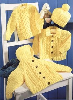 Baby Knitting Patterns Sweter Baby Aran Hooded Jacket Collared Jacket & Sweater in DK 8 ply for sizes 16 – 26 … Baby Knitting Patterns, Knitting For Kids, Baby Patterns, Free Knitting, Knitting Needles, Double Knitting, Crochet Patterns, Cardigan Bebe, Baby Cardigan