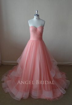 ALine Coral Tulle Evening dress Evening gown by AngelBridal, $220.00