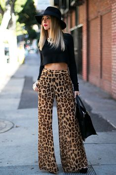 30 Leopard Pants Matching Ideas with All Clothes in Your Wardrobe Outfit, # Chiffon Palazzo Pants, Wide Leg Palazzo Pants, Wide Leg Pants, Leopard Fashion, Animal Print Fashion, Fashion Prints, Animal Prints, Animal Print Pants, Leopard Print Pants