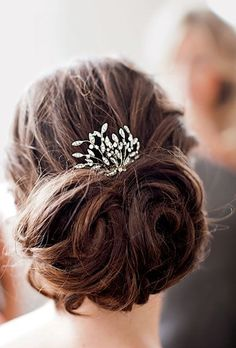 Brooch in hair with back pouf.
