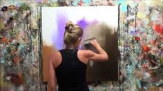 """Démonstration de peinture abstraite (11) Elisabeth - Toile """"Attraction"""""""