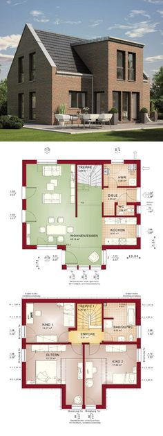 Satteldach Haus mit moderner Giebel Architektur & Klinker Fassade - Grundriss Einfamilienhaus Evolution 122 V9 Bien Zenker Fertighaus Ideen - HausbauDirekt.de
