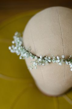Babys Breath Flower Crown / Halo / Hair Wreath  by WoodlandSecrets