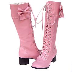 Pink high heel leather boots